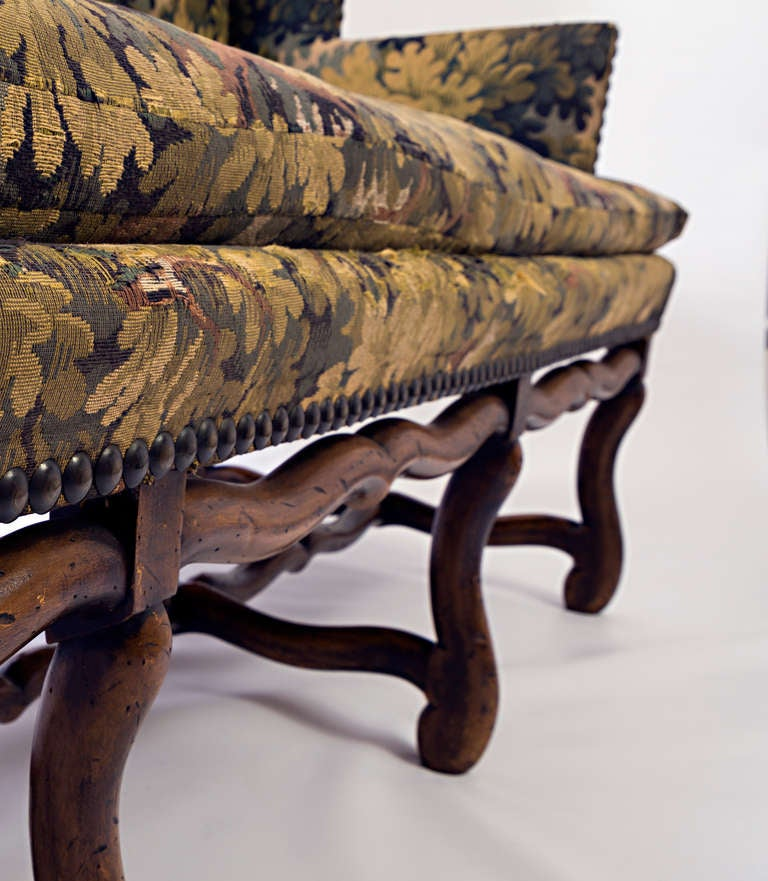 Louis XIII French Sofa with Mouton Legs and Wing Sides and Loose Seat Cushion For Sale 1