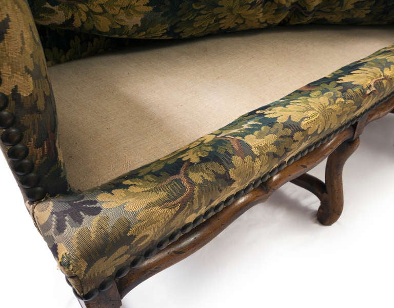Louis XIII French Sofa with Mouton Legs and Wing Sides and Loose Seat Cushion For Sale 4