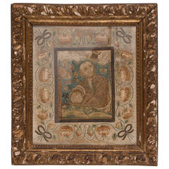 18th Century Needlework of Silk Thread in Gilt Frame Italian