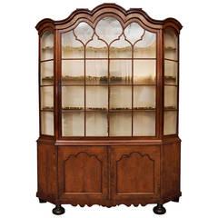 18th Century Dutch Burl Walnut Original Glass front Cabinet with Single Door