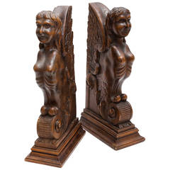 Walnut Carved Bookends