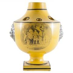 19th Century French Choisez Bulb Pot in Yellow Glaze