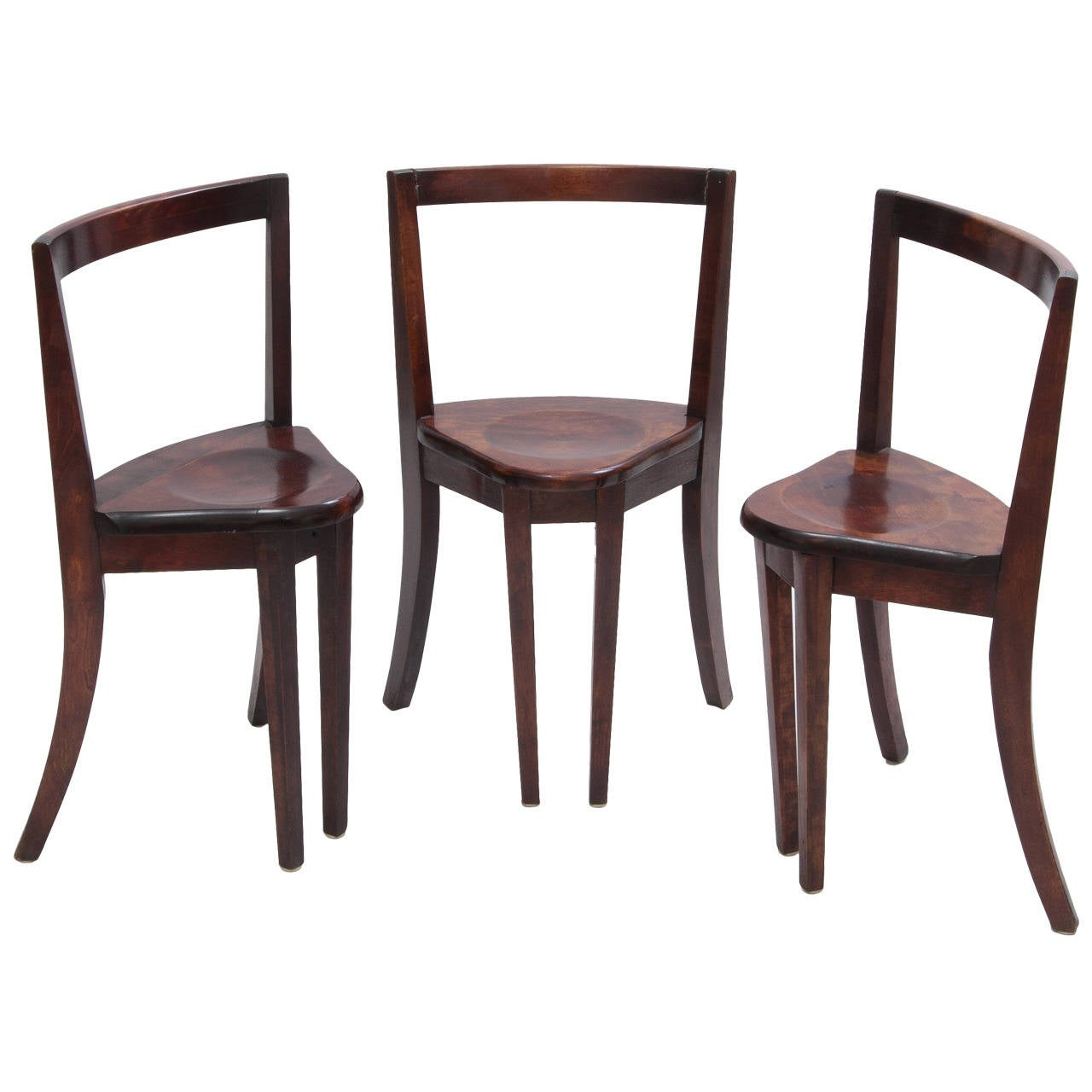 Set Of Three Antique Triangular Shaped Wood Chairs At 1stdibs