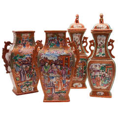 18th Century Chinese Export Rouge-De-Fer Mandarin Porcelain Garniture Set Vases
