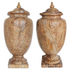 Early 19th Century Pair of Alabaster Riorati Urns
