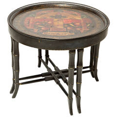 Painted Round Tole Tray Made into Table with Custom Base