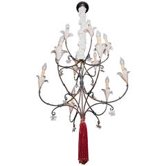 19th Century French Iron 12 Light Chandelier with Tole Flower Candle Holders