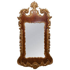 18th Century George III Mahogany and Giltwood Mirror