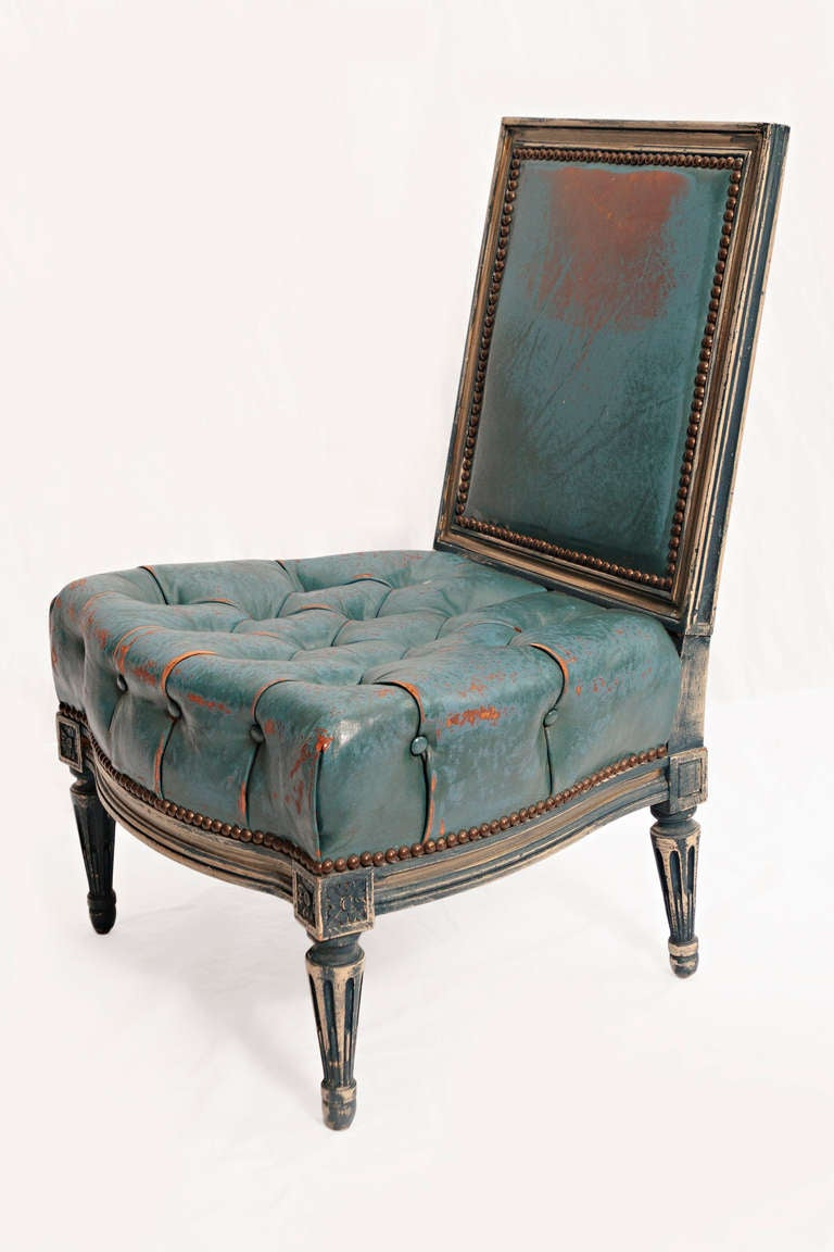 Pair Of Early 20th Century Blue Leather Upholstered Slipper Chairs At 1stdibs