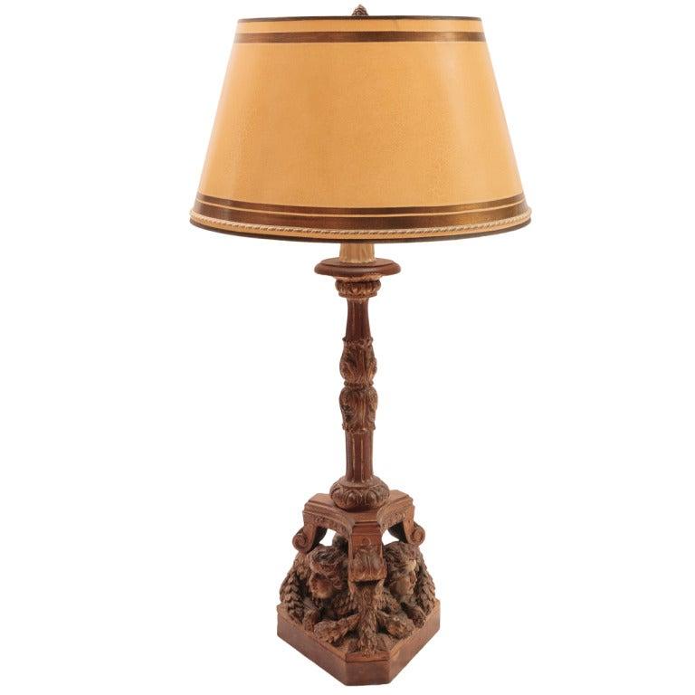 19th Century Carved Wood Italian Cherub Lamp At 1stdibs
