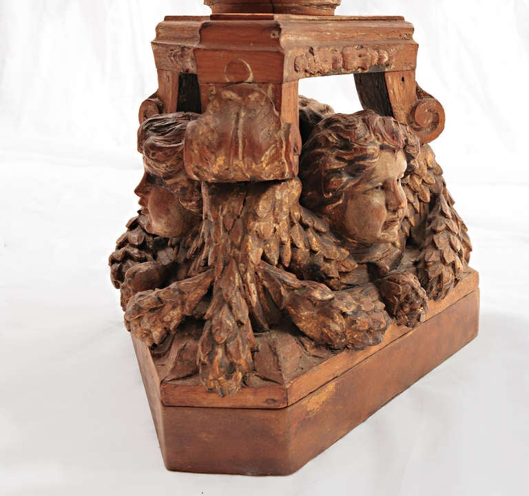 19th Century Italian Carved Wood Cherub Lamp In Excellent Condition For Sale In Nashville, TN
