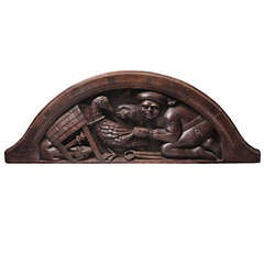 15th Century Flemish Walnut Carved Overdoor Lunette