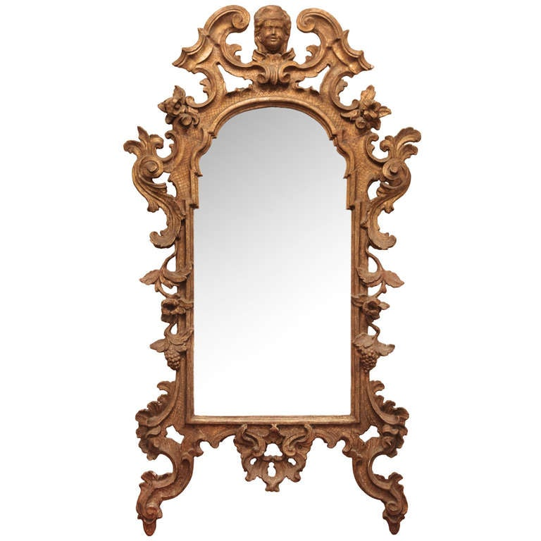 18th Century Italian Gilt Carved Wood Mirror