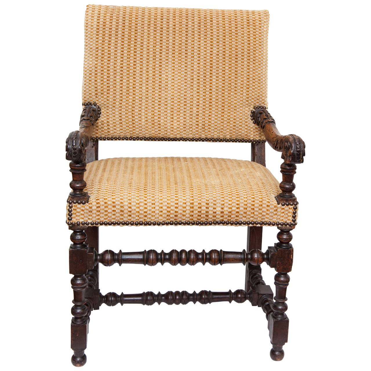 18th Century French Louis XV Walnut Armchair with Upholstered Back and Seat