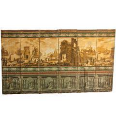 19th Century Charles X Wallpaper Print Six-Panel Screen