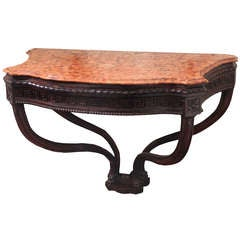 18th Century Italian Walnut Carved Console with Curved Marble Top