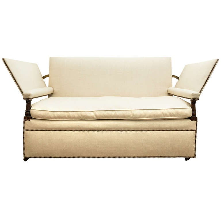 Ratchet arm sofa covered in white linen fabric for sale at for White linen sectional sofa