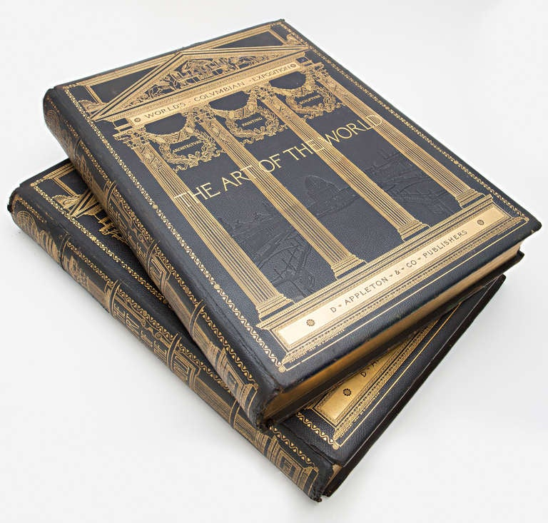 The two large folio volumes are designed by Stanford White, world-renown architect at the turn of the century. These volumes are bound in black Levant leather with richly gilded designs on the front covers and spines, with gilded pages. They contain