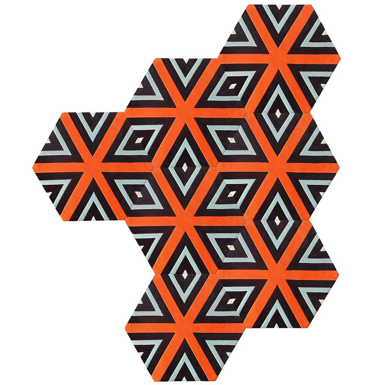 Kinder Ground Cubist Deconstructed Hexagon Rug 1