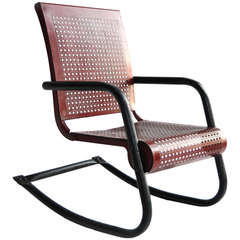 1950s Red Metal Mesh and Black Iron Frame Child Rocker