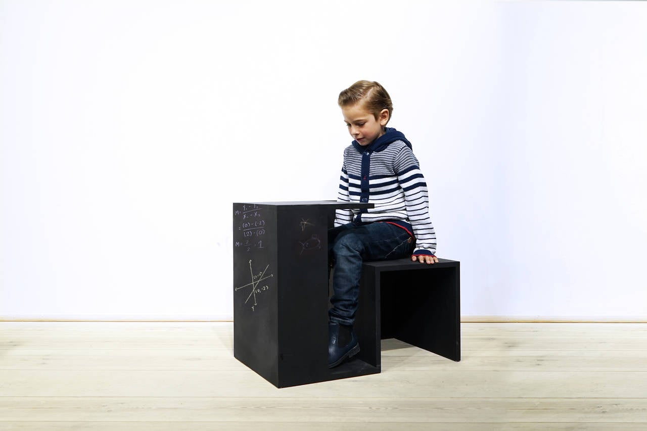 Tisch Stuhl Haus Kreide, Limited Edition Child Desk by Clemens Tissi in Plywood 4