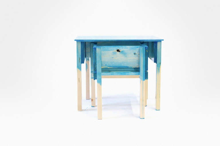 Child Desk Set by Lucas Maassen & Sons in Hand-Painted Pine Wood 3