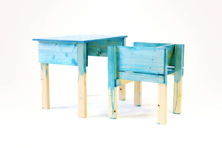 Child Desk Set by Lucas Maassen & Sons in Hand-Painted Pine Wood 2