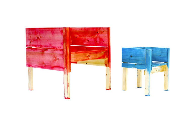 Child Desk Set by Lucas Maassen & Sons in Hand-Painted Pine Wood 7