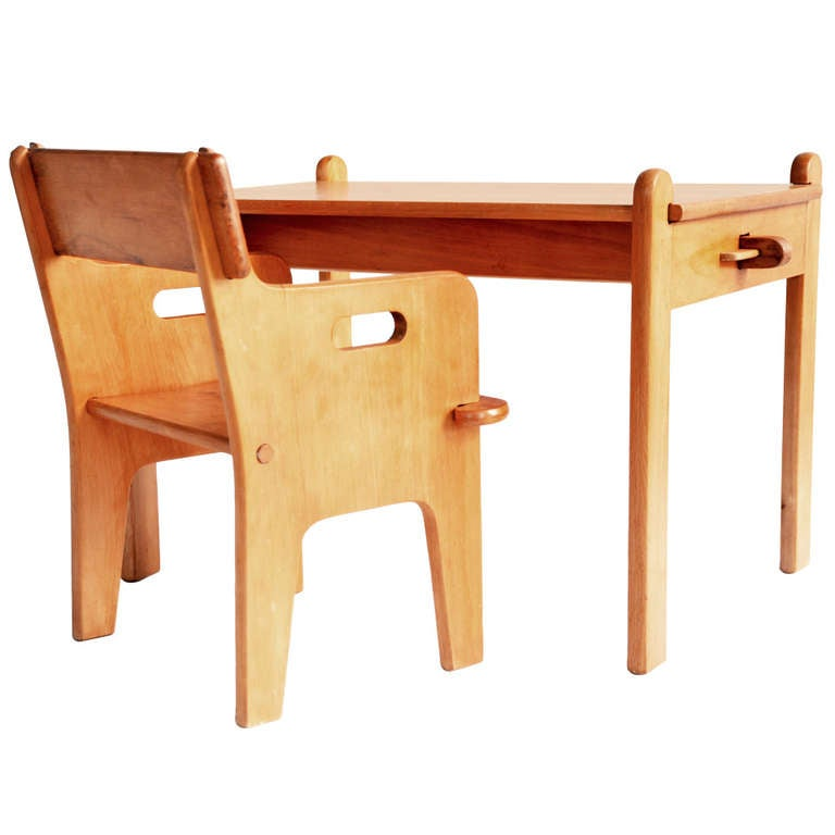 Peter's Chair and Table or Child Desk Set in Wood by Hans J. Wegner,