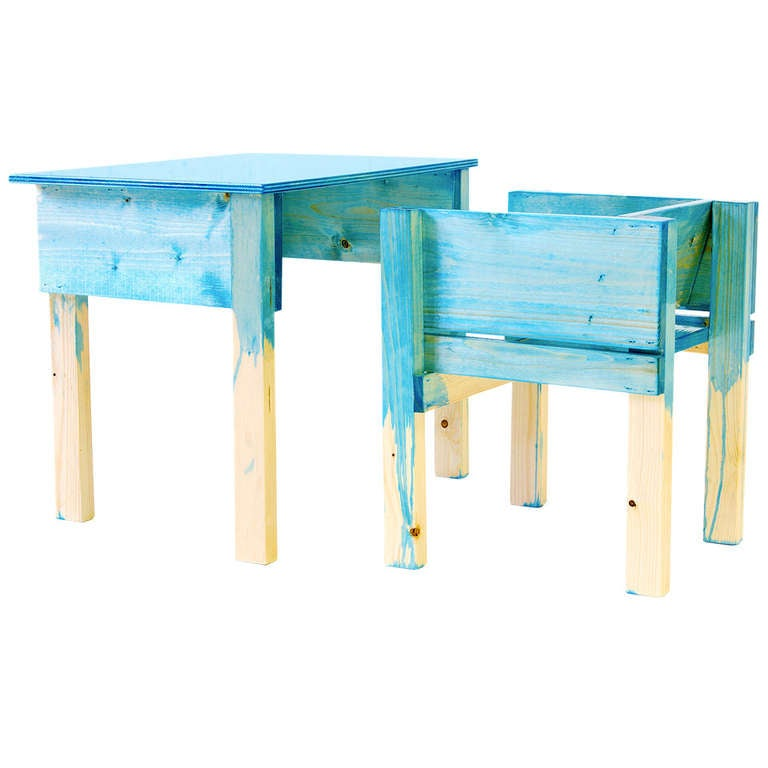 Child Desk Set by Lucas Maassen & Sons in Hand-Painted Pine Wood