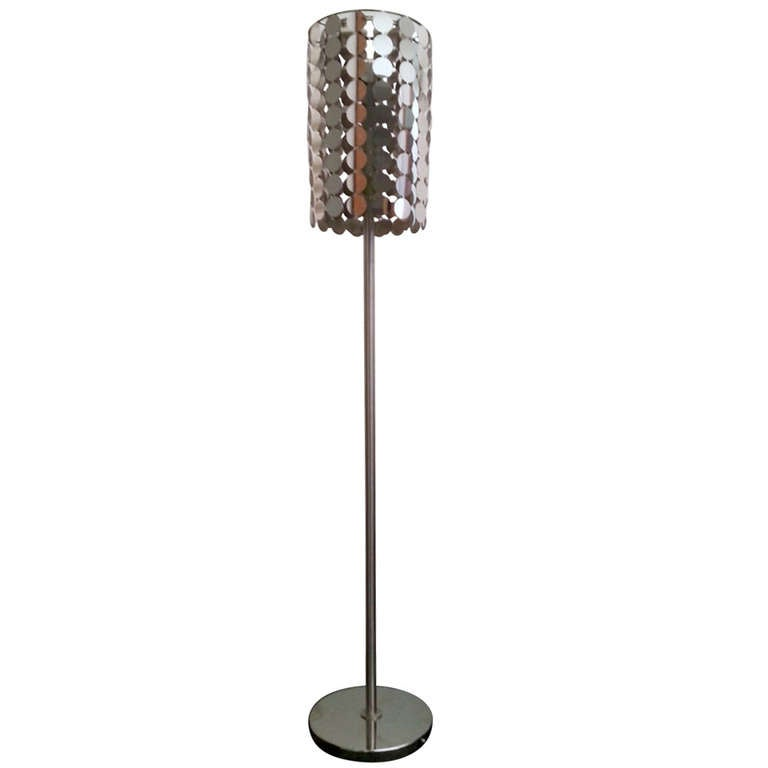 1980 39 s stainless steel floor lamp at 1stdibs. Black Bedroom Furniture Sets. Home Design Ideas
