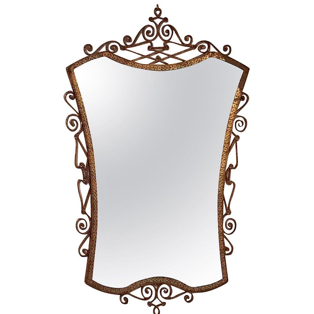 1950s wrought iron mirror by pierluigi colli at 1stdibs for Wrought iron mirror