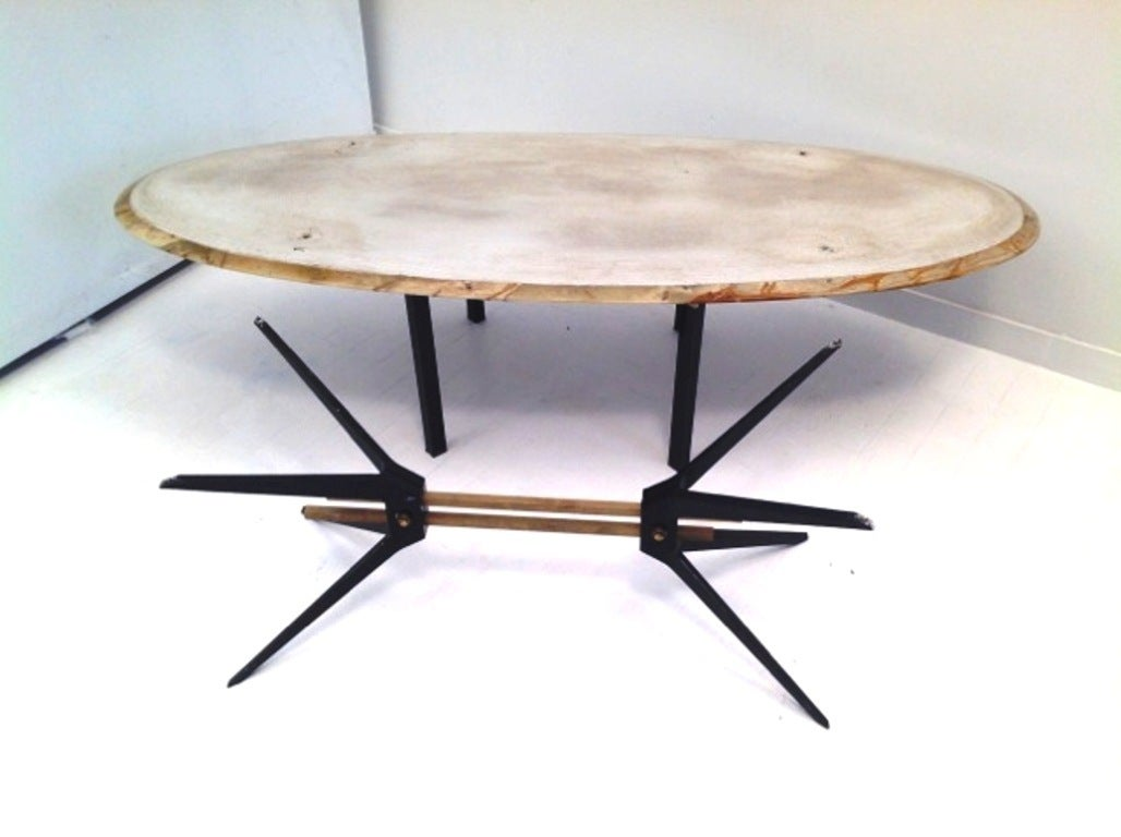 1950s Large Italian Cast Aluminium And Onyx Coffee Table For Sale At 1stdibs