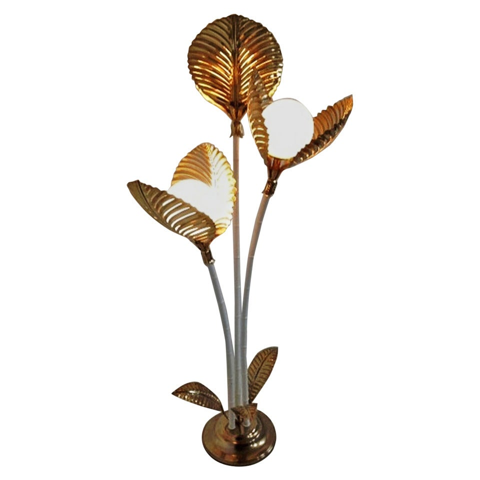 italian palm tree leaves floor lamp 1970s at 1stdibs. Black Bedroom Furniture Sets. Home Design Ideas
