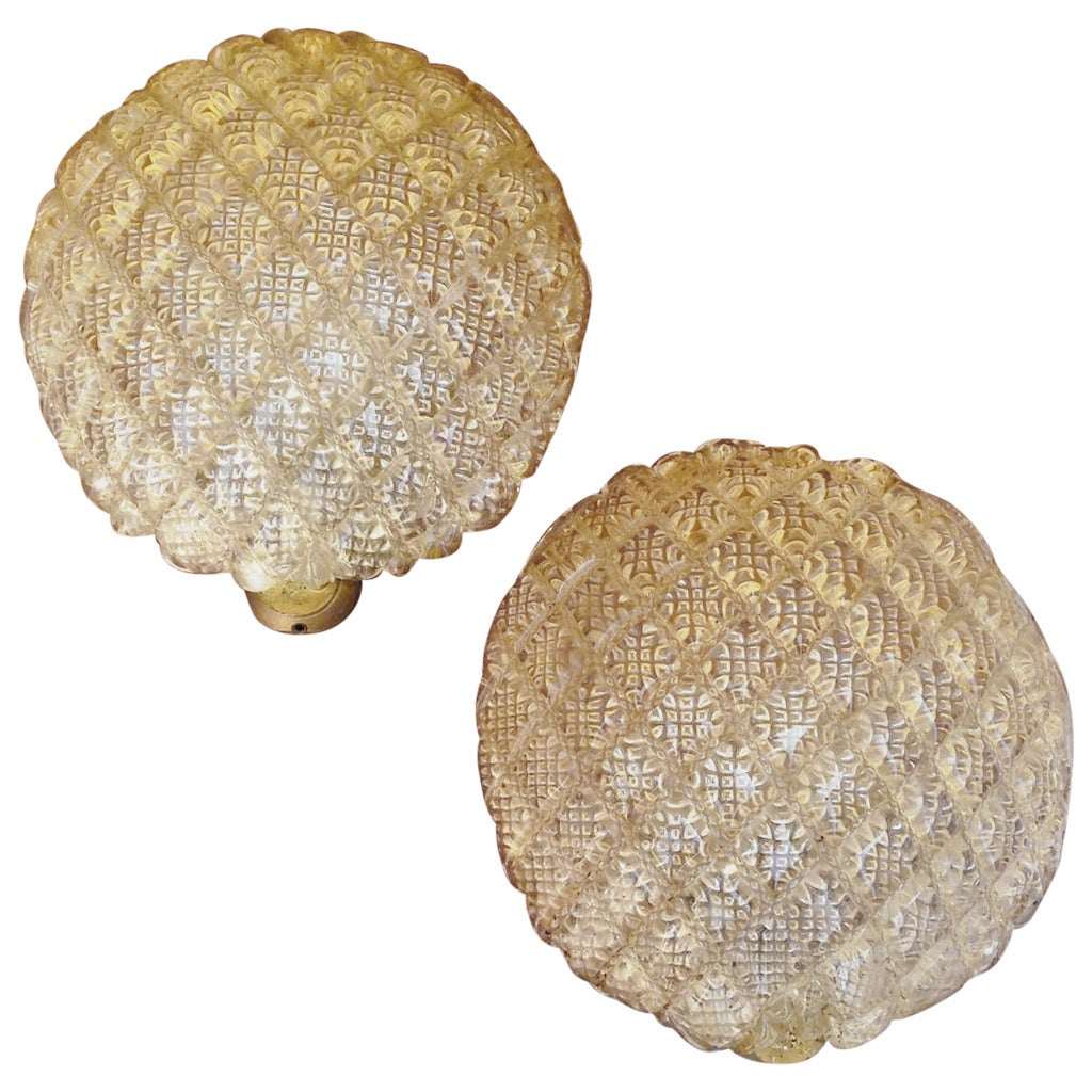 1940s Murano Glass Small Round Wall Lights at 1stdibs