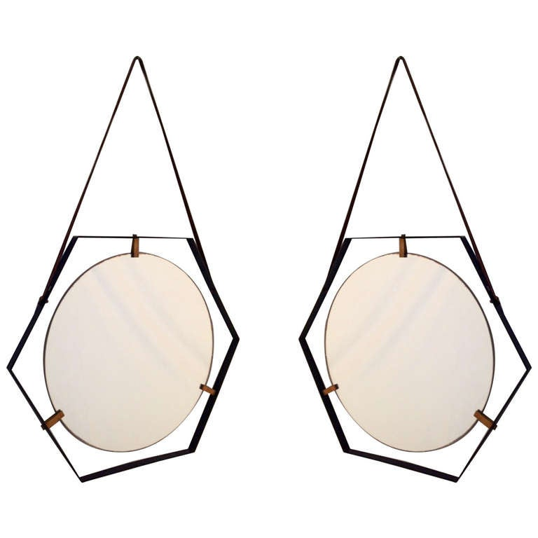Pair Of Hexagonal 50 S Mirrors At 1stdibs