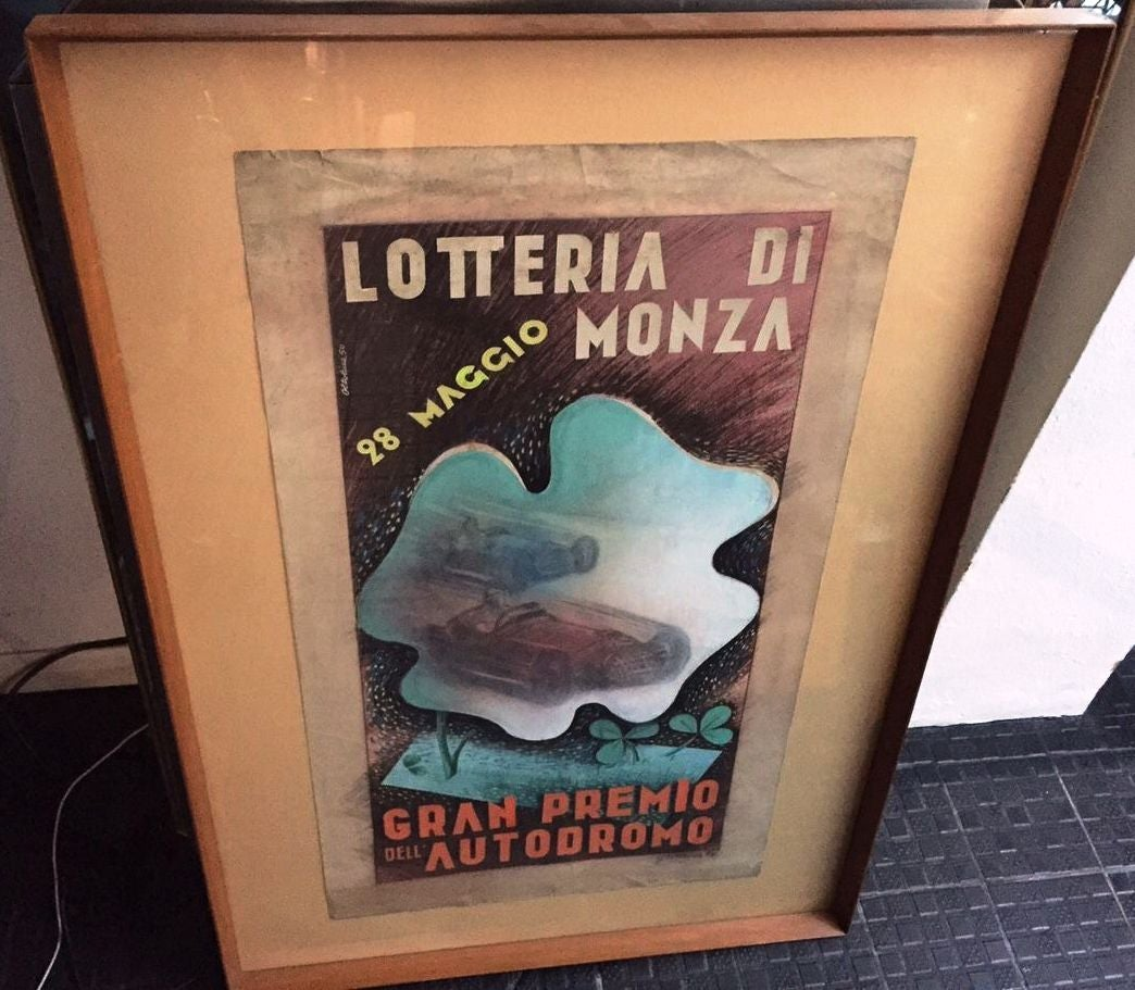 1950s preliminary drawing for the monza grand prix lottery ticket by oltolina at 1stdibs. Black Bedroom Furniture Sets. Home Design Ideas