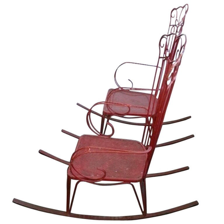 1950.s wrought iron rocking chairs at 1stdibs