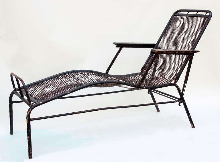 Chaise longue by jean prouv and jules leleu at 1stdibs for Chaise jean prouve