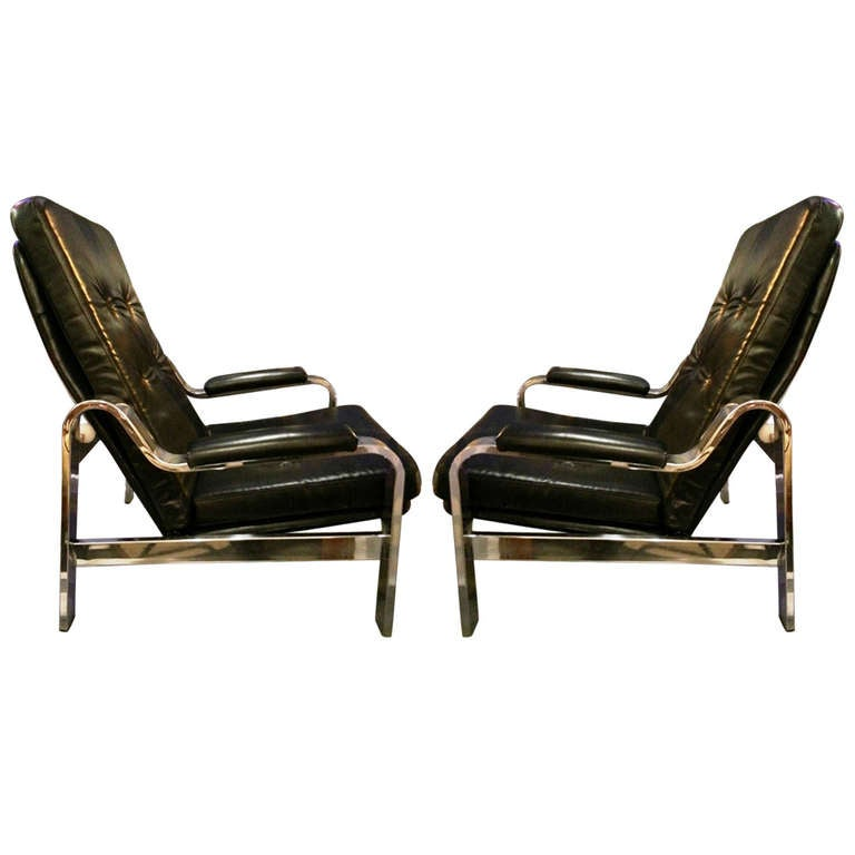 1970 39 s reclining leather and chrome chairs at 1stdibs
