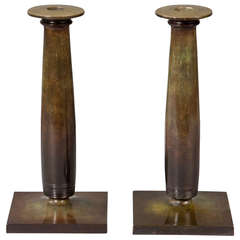 Pair of Candlesticks by Just Andersen, Art Deco, Denmark, 1930s