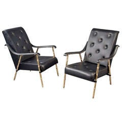 Pair of Armchairs by Jacques Adnet, France, 1950s