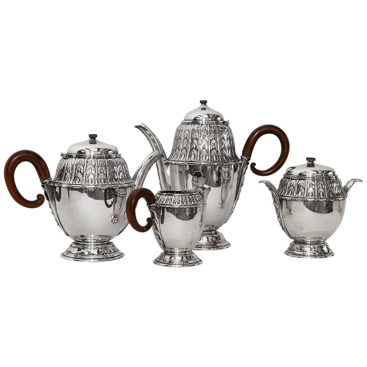 Paul Follot French Art Deco Silver Plate Coffee Service At