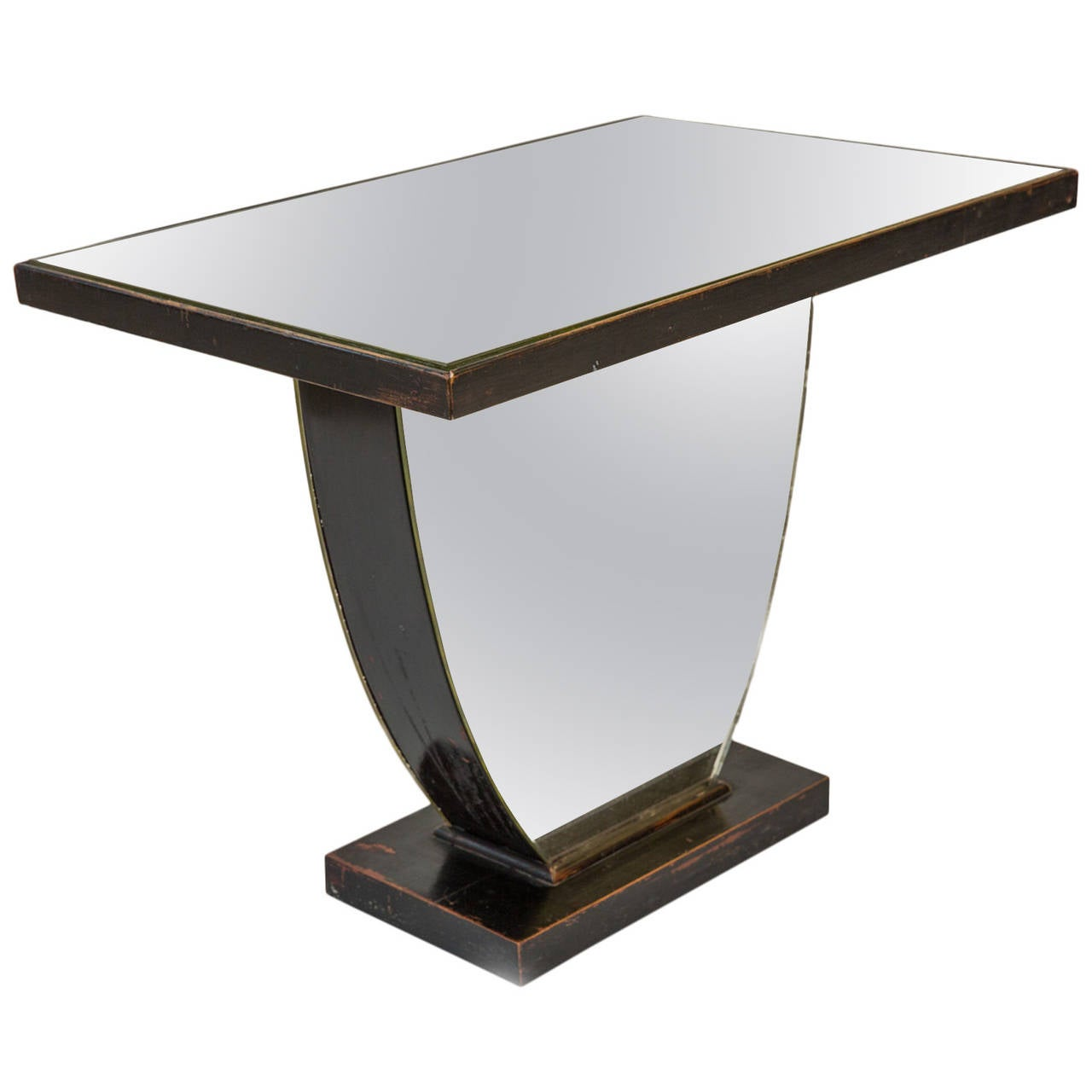 french art deco mirrored side table at 1stdibs. Black Bedroom Furniture Sets. Home Design Ideas
