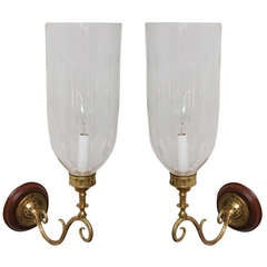 Pair of Late 19th C. Hand Blown Etched Hurricane Shades on Brass Sconce Arms