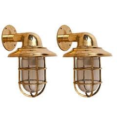 Pair of Nautical Antique Brass Passageway Lights