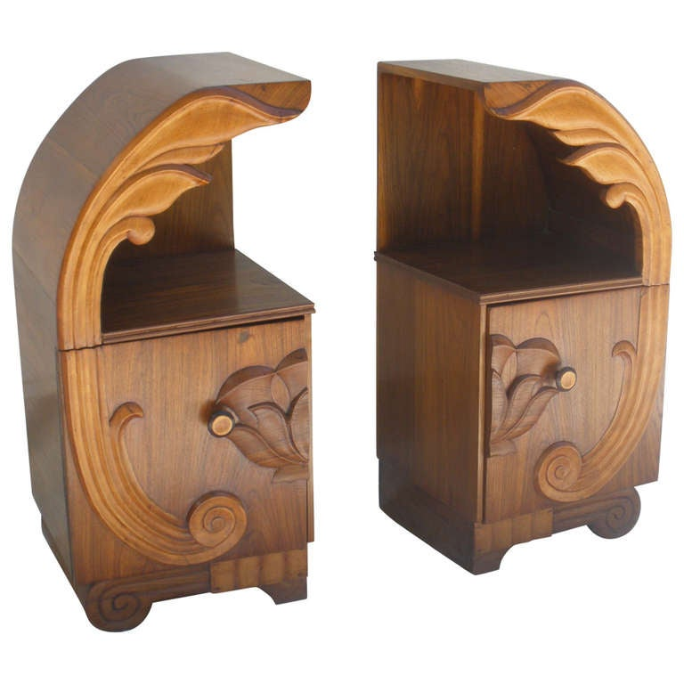 Pair of Deco Period Teak Side Tables with Lotus Design For Sale