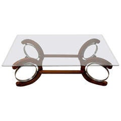 Art Deco Period Teak and Chrome Coffee Table with Glass Top