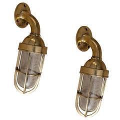 Pair of Antique Nautical Brass Passageway Lights