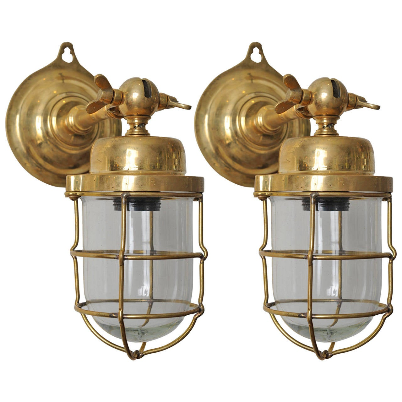 Pair of Nautical Antique Ship Passageway Lights in Brass, Mid-Century at 1stdibs